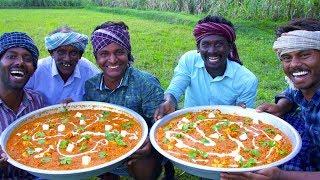PANEER BUTTER MASALA | Traditional Cooking Method of Making Paneer Masala Gravy Recipe In Village