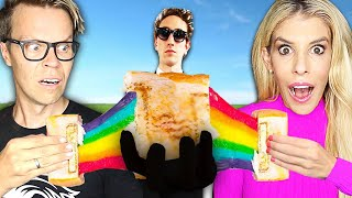 We only Ate Rainbow Food for 24 Hours Challenge! (Rebecca Vs. Best Friend)