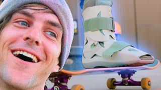 SKATEBOARDING WITH BROKEN ANKLES?!? MEDICAL BOOT STUPID SKATE