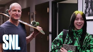 Woody Harrelson Welcomes Billie Eilish on Her First Day at SNL
