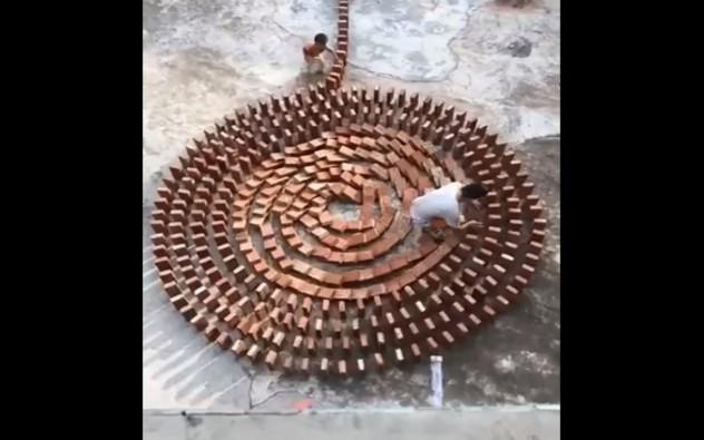 Un homme a mis beaucoup de temps à faire une spirale en dominos, son enfant a tout ruiné