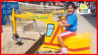 Construction Vehicles Diggerland Amusement Theme Park for Kids with Ryan!!!