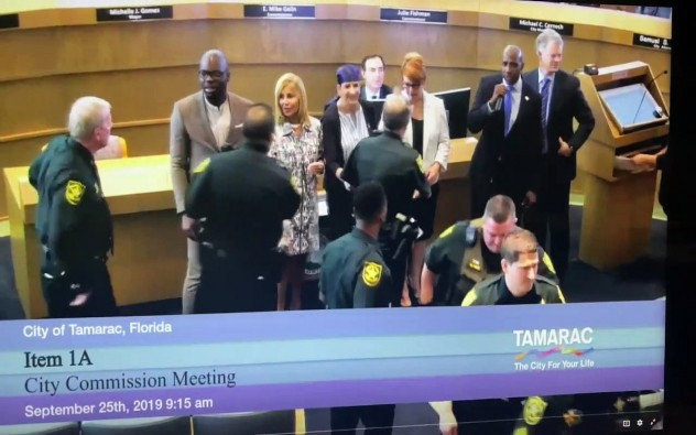 "A Florida official confronted a police officer during an awards ceremony for falsely arresting him. ""You probably don't remember me but you're the police officer who falsely arrested me four years ago"""