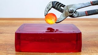 EXPERIMENT Glowing 1000 degree METAL BALL vs JELLY