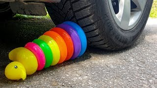 Crushing Crunchy & Soft Things by Car! EXPERIMENT CAR vs RAINBOW TOWER RING