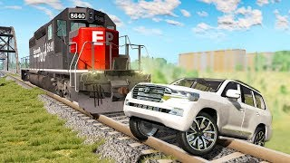 Railway Сrossing Train Сrashes #6 - Beamng drive