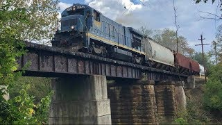 Older General Electric Locomotive Pulling Loaded Grain Train On Ohio Railroad Branchline!