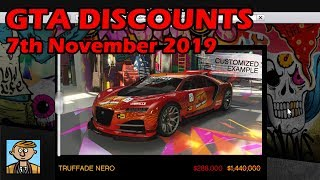 GTA Online Best Vehicle Discounts (7th November 2019) - GTA 5 Weekly Car Sales Guide #11