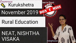 Rural Education: Kurukshetra November 2019 - VISAKA, NEAT, DHRUV  (Important for NTA NET Paper 1)