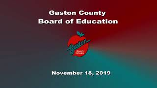 November 18, 2019 Gaston County Board of Education Meeting
