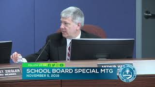 Sarasota County School Board Special Meeting 11 5 19