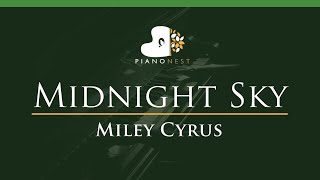 Miley Cyrus - Midnight Sky - LOWER Key (Piano Karaoke Instrumental)