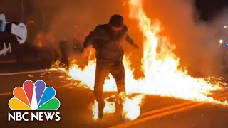 Video Shows Portland Protester Catch Fire During Police Clash | NBC News