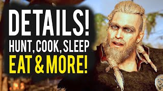 Assassins Creed Valhalla Gameplay Details - Eating, Sleeping, Cooking, Bathing & More!