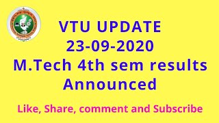 VTU UPDATE 23-09-2020 (M.Tech viva voce results announced.