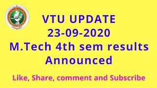VTU UPDATE 23-09-2020 (M.Tech viva voce results announced.