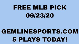 FREE MLB PICK September 23, 2020 from Rick George