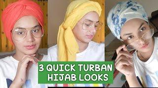 3 Quick & Easy TURBAN STYLE HIJAB looks   Iqra Salman