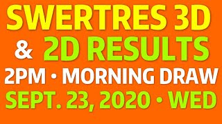 SWERTRES RESULT 11AM Draw 3D & 2D SEPT 23, 2020 Wed | PCSO Lotto Swertres 3D 2D EZ2 2PM Result
