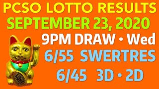 LOTTO RESULT 9PM Sept 23 2020 Wed | PCSO Lotto Draw 6/58 6/55 6/49 6/45 6/42 Swertres 2D 3D
