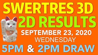 SWERTRES 3D 2D RESULT 5PM 2PM DRAW Sept 23, 2020 WEDNESDAY | PCSO Lotto  Draw 3D 2D 4pm Result