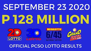 Lotto Result September 23 2020 (Wednesday) PCSO Today
