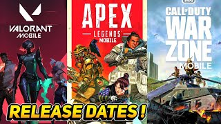 BEST UPCOMING MOBILE GAMES RELEASE DATE | APEX LEGENDS MOBILE ,VALORANT MOBILE & COD WARZONE NEWS !
