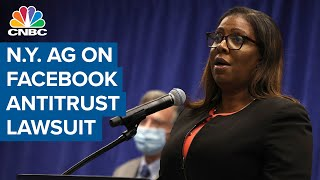 N.Y. Attorney General news conference on antitrust lawsuit against Facebook