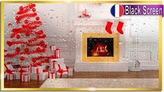 Merry Rainy Christmas! Relaxing Crackling Fireplace & Rain Sound On Window for Sleeping BLACK SCREEN
