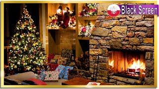 🎄Christmas Carols Instrumental 🔥Crackling Fireplace 🌧️Rain Sounds for Sleep Relax Work BLACK SCREEN