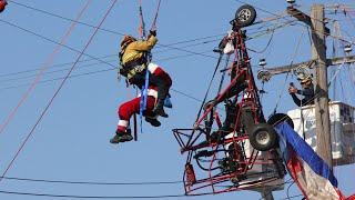 Sacramento Firefighters Rescue Man in Santa Costume from Paramotor Vs. Pole Crash