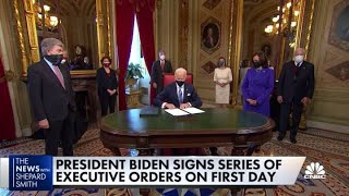 President Biden signs a series of executive orders on his first day