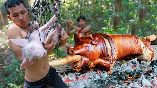 New Video Pig Trap 2021!! Amazing Make Pig Trap then Cooking Eating Delicious