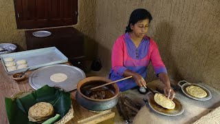 She is cooking a famous street food in her village home ❤ Layered Soft Parotta and chicken curry