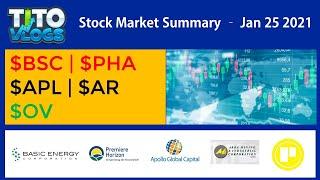 BSC | PHA | APL | AR | OV | STOCK MARKET SUMMARY JANUARY 25 2021