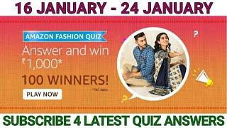 Amazon FASHION Quiz Answers Today| Win 1000 Amazon Pay Balance | 16 JANUARY 2021