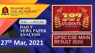 The Hindu Daily News Analysis || 27th March 2021 || UPSC Current Affairs || Prelims 2021 & Mains
