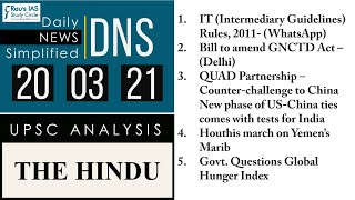 THE HINDU Analysis, 20 March 2021 (Daily News Analysis for UPSC) – DNS