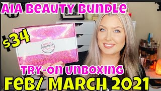 AIA Beauty Box | February and March 2021 AIA Beauty Bundle Box Unboxing | HOT MESS MOMMA MD