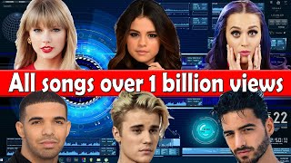 All songs with over 1 billion views on Youtube (March 2021)