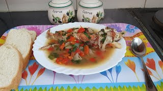 How tasty this grilled fish soup for lunch,nothing left