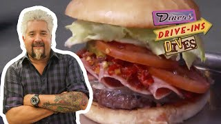 Guy Fieri Eats a Cold Cut-Topped BURGER   Diners, Drive-Ins and Dives   Food Network