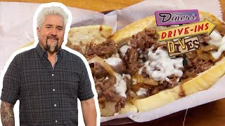 Guy Fieri Eats a Cheesesteak on HOMEMADE Bread   Diners, Drive-Ins and Dives   Food Network