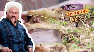 Guy Fieri Eats Sausage APPLE Pizza | Diners, Drive-Ins and Dives | Food Network