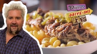 Guy Fieri Eats Barbecue Pulled Pork Mac and Cheese | Diners, Drive-Ins and Dives | Food Network