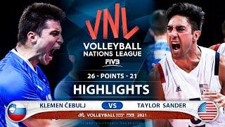 Slovenia vs Usa | VNL 2021 | Highlights | Klemen Čebulj vs Taylor  Sander