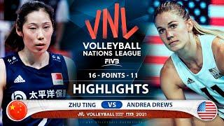 Zhu Ting vs Andrea Drews | China vs USA | Highlights | VNL 2021 (HD)