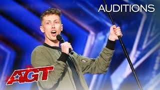 Early Release: The Judges Can't Stop Laughing at Cam Bertrand's Comedy - America's Got Talent 2021