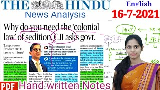 The Hindu Newspaper Analysis in English/ 16-July-2021 /Current Affairs for UPSC /IAS .